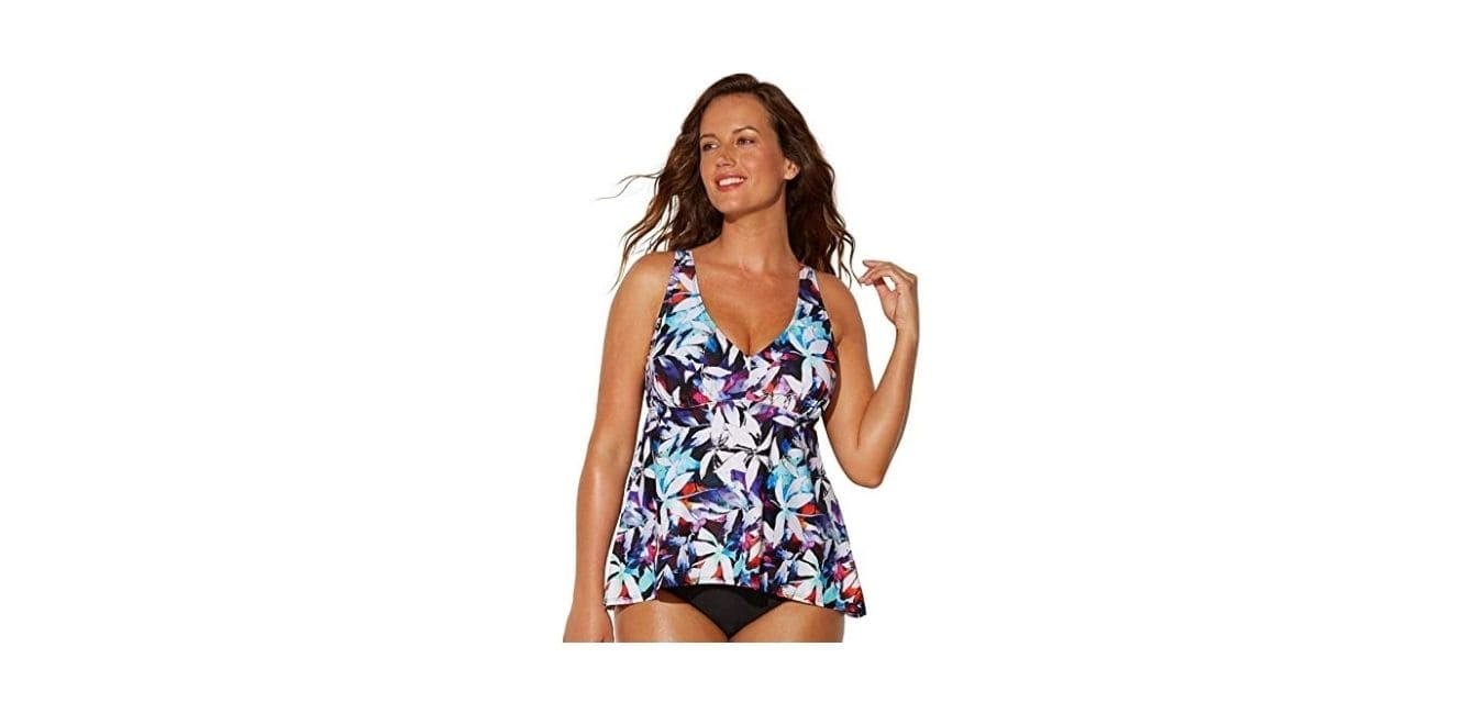Swimsuits For All Women's Plus Size V-Neck Flowy Tankini Top 10 Multi Leaves